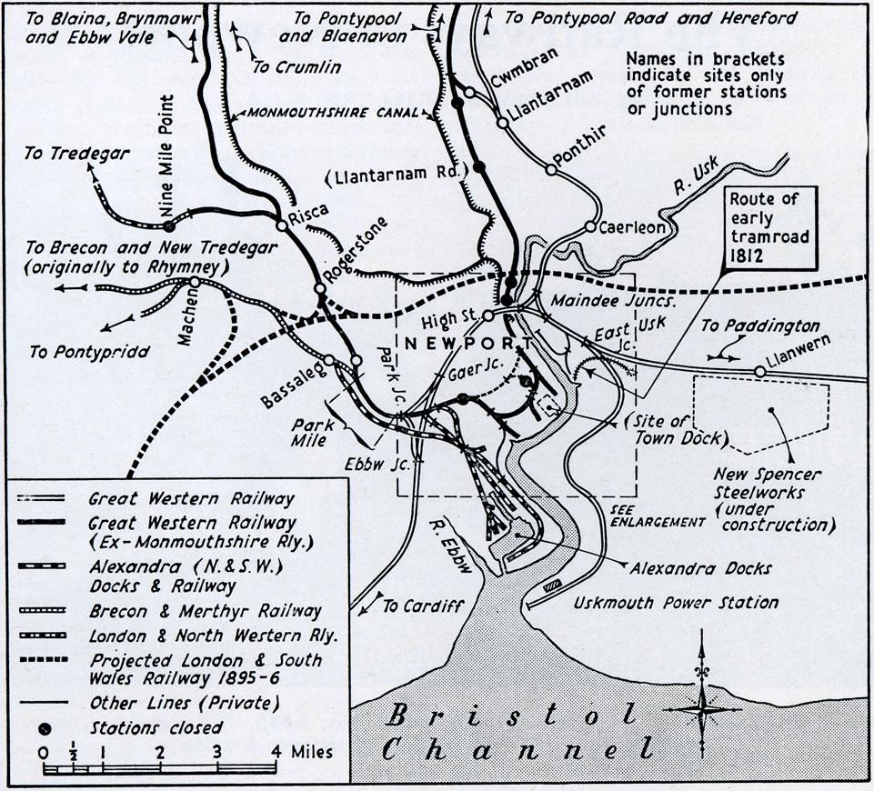 Map Of The Railways Serving Newport Mon