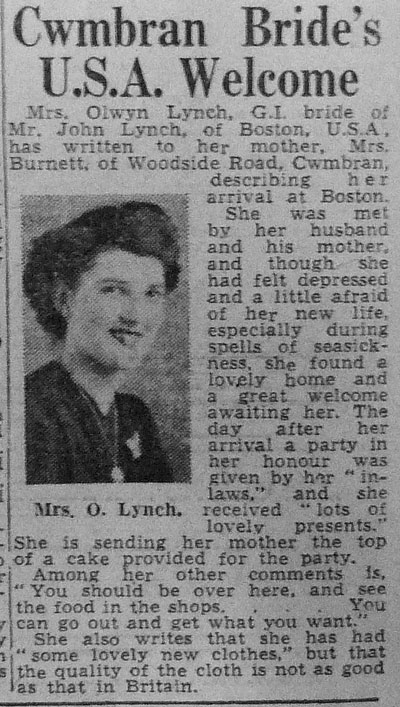 Mrs Olwyn Lynch, GI bride of Mr John Lynch, of Boston USA, has written to her mother, Mrs Burnett, of Woodside Road Cwmbran...