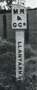 MR & C Co Llantarnam - Boundary post of the Monmouthshire Railway & Canal Company at Malpas, near Newport Monmouthshire