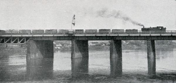 Up mineral train crossing the River Usk bridge at Newport, which was widened on the northern side when two additional tracks were laid in 1925