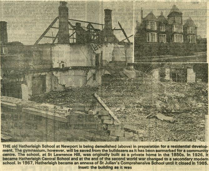 demolition of hatherleigh school newport past photo search. Black Bedroom Furniture Sets. Home Design Ideas