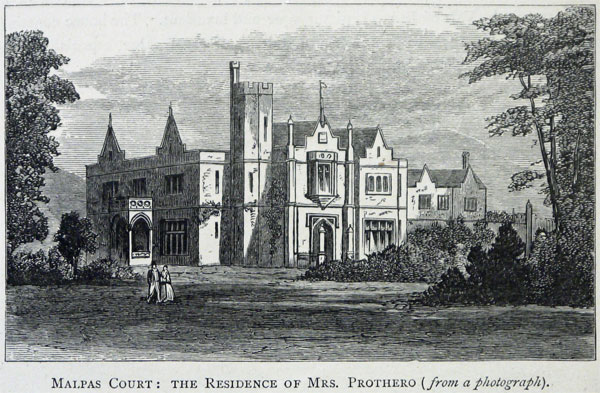 "A view of Malpas Court from ""The Annals and Antiquities of the Counties and County Families of Wales."""